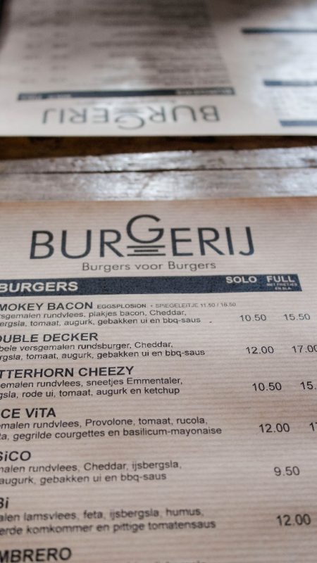 Speisekarte The Burgerij in Antwerpen